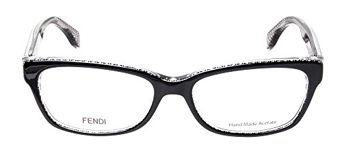 Fendi Montures de lunettes 0004 Signature Micrologo Pour Femme Black / Crystal, 53mm 6ZV: Black / Crystal