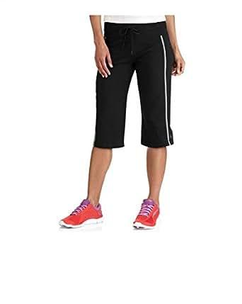 Womens Dri-more Core Striped Bermuda Below Knee Shorts Activewear, Black, Small
