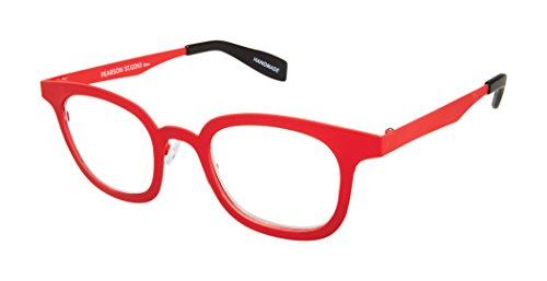 Pearson Street - Rounded Square Trendy Fashion Reading Glasses for Men and Women - Tango Red (+3.00 Magnification Power) (Scojo Glasses Street Reading)
