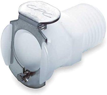 Acetal Inline Coupler MNPT Shut-Off