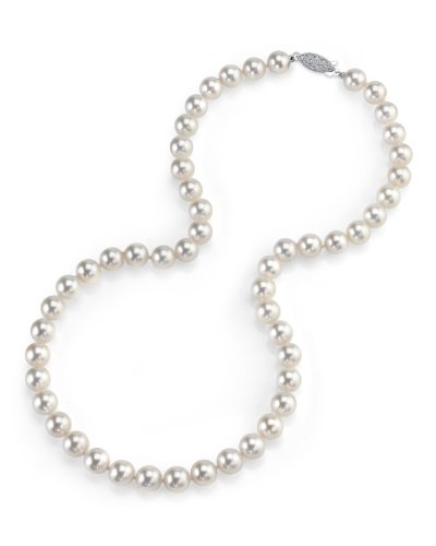 "The Pearl Source 14K Gold 7.0-7.5mm AAA Quality Round Genuine White Japanese Akoya Saltwater Cultured Pearl Necklace in 18"" Princess Length for Women"