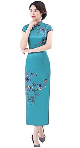 Stile Cinese Spaccatura Qipao donne Di Stare Seta Abiti Stampa Coolred Collare As2 w70nqOT76