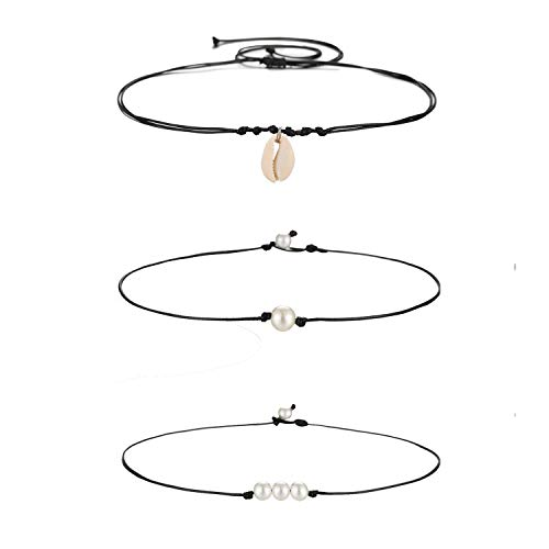 Starain Summer Beach Shell Pendant Necklace for Women Girls Handmade Pearl Choker Adjustable