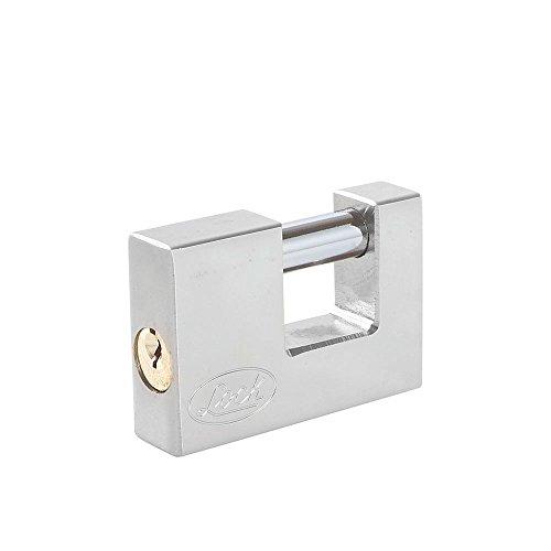 Lock L22C80ECSB Candado de Acero para Cortina Llave Estándar, Cromo Satinado, 80 mm