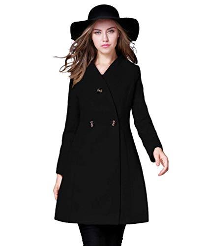 Estilo Caldo Button Lunga Schwarz Colori Modern Stile Trench Especial Giacca Manica Fit Outerwear Invernali Vento Solidi Slim Bavero Donna VSUMpz