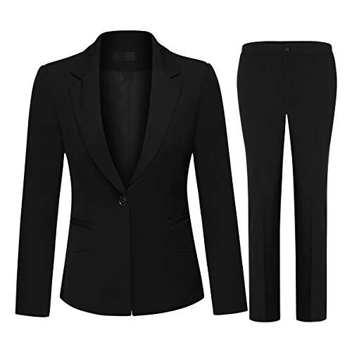 Women's 2 Piece Office Lady Business Suit Set Slim Fit Blazer Pant (Suit Set-Black2, XL) (Womens Washable Business Suits)