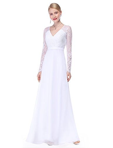 Ever-Pretty Womens Romantic Floor Length Long Lace Sleeve Evening Gown Dress 10 US White