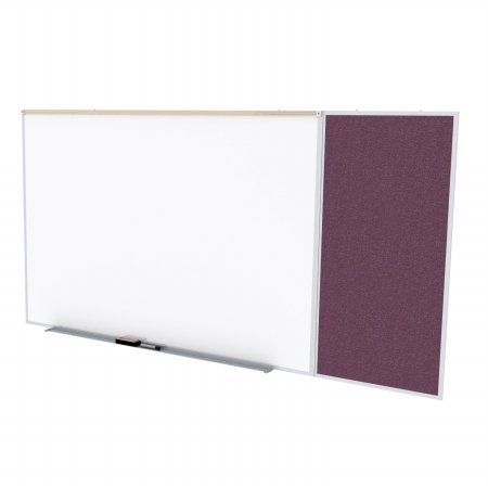 Ghent SPC416C-V-187 4 ft. x 16 ft. Style C Combination Unit - Porcelain Magnetic Whiteboard and Vinyl Fabric Tackboard - Berry