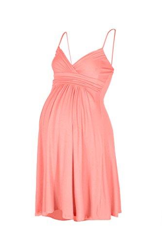Beachcoco Women's Maternity Sweetheart Short Dress (M, Peach Coral)
