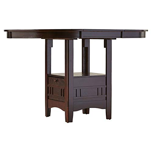 Wood 1 Leaf Dining Table with Oval Top - Carved Pedestal Base Dining Table with Shelf and Stiorage - Espresso