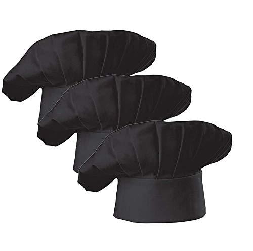 AFYHA Chef Hat Costume for Men Women, Adjustable Baker Hat,Kitchen Cooking Baking Hat,2 Pack (3 piece black hats)
