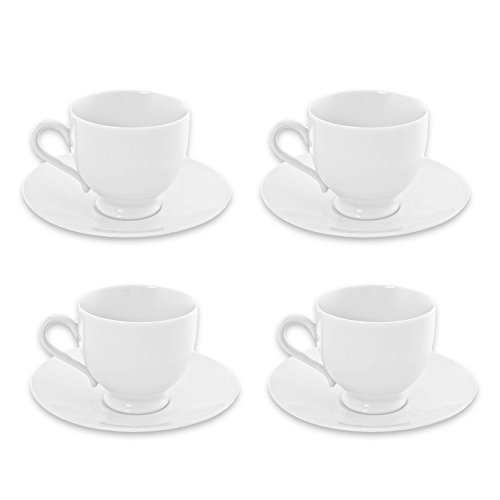 BIA Cordon Bleu Espresso Cups and Saucers Set -- 4 Classic Demitasse Cups with Saucers, 4 Oz, White Porcelain