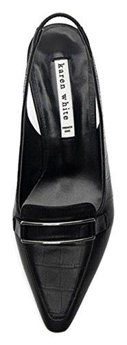 Karen White Womes Nero Scarpe Slingback In Vera Pelle Scarpe Tacco Medio Kittern Nero