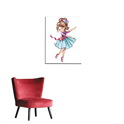longbuyer Wallpaper Watercolor Illustration Cute Little Ballerina Young Girl in Blue Dress Dancing Child Doll Clip Art Isolated on White Background Mural 20