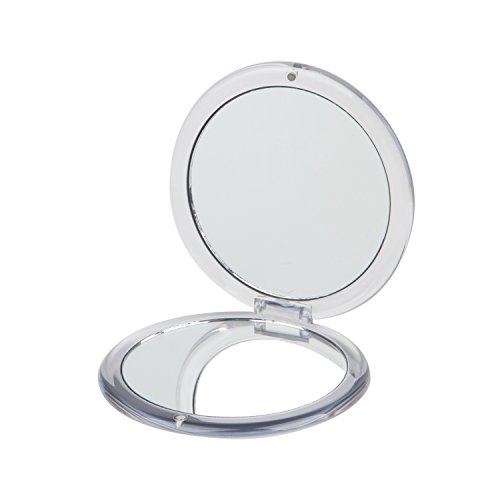 ROUND COMPACT MIRROR, Double Sided PMMA Travel Makeup Mirror with 1x/5x Magnification and assorted colors (SILVER)