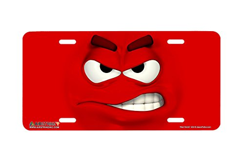 Airstrike Face Emoticon License Plates Red Smirk Made in USA (Made of - Usa Emoticon