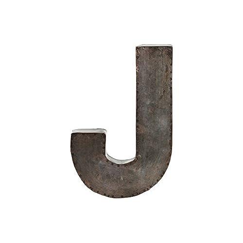 urban trends metal alphabet wall decor letter j galvanized finish bronze