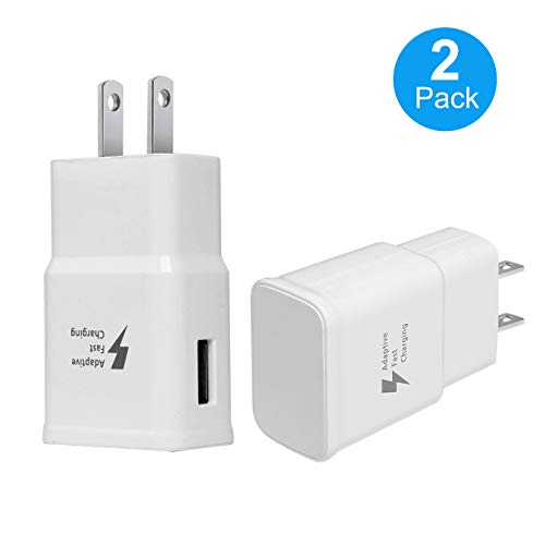 Adaptive Fast Charging Wall Adapter for Samsung Galaxy S6 S7 S8 S9 S10 / Edge/Plus/Active, Note 5,Note 8, Note 9, and More (2 Pack) (White) Aolerx Quick - Wall Samsung Charger