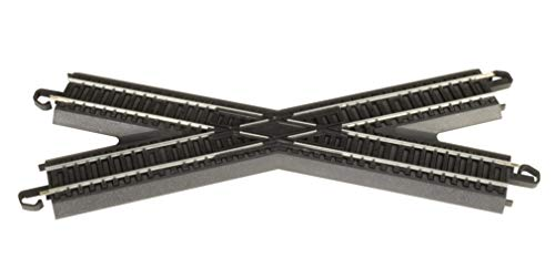 Bachmann Trains - Snap-Fit E-Z TRACK 30 DEGREE CROSSING (1/card - STEEL ALLOY Rail With Black Roadbed - HO Scale