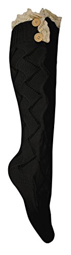 Peach Couture Cute Victorian Vintage Cable Knit Boot Socks with Lace & Buttons (Large Black) ()