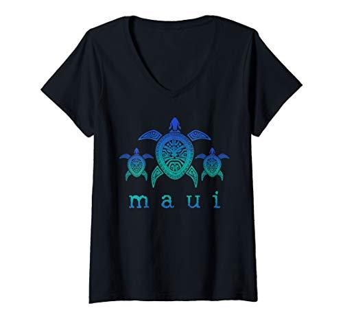 (Womens Maui - Hawaii Sea Turtles Hawaiian Scuba Diving Souvenir V-Neck T-Shirt)