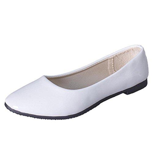Ftxj Femme Lady A Souligné Toe Pu Glissement De Cuir Sur Les Chaussures Plates Casual Business Blanc