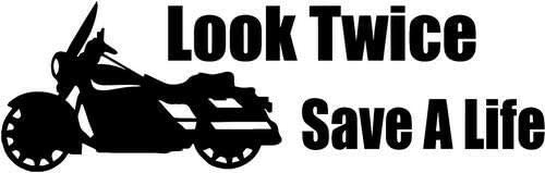 """storevn_012019 (Size 5"""" - (Color White)_Look Twice Save A Life Motorcycle_Vinyl Decal Sticker Car Truck Vehicle Bumper Window Wall Decor Helmet Motorcycle, iPhone, Ipad, Windows."""