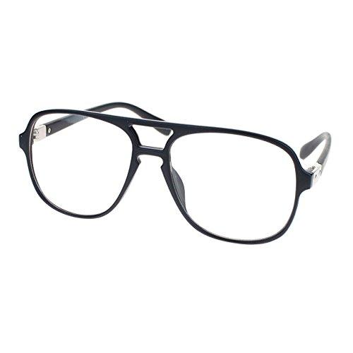 Mens Thin Plastic Nerdy Large Clear Lens Eye Glasses Matte Black