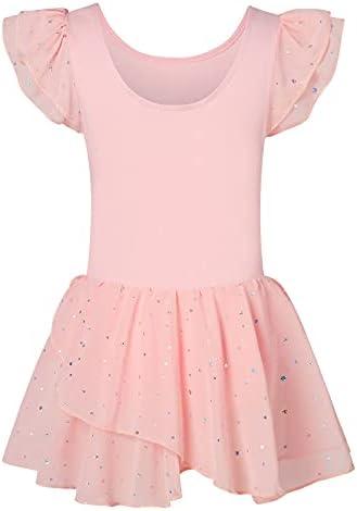 Kids4ever Girls Ballet Leotards for Dance 3-11T Kids Ruffle Short Sleeve Gymnastics Tutu Dress with Sparkle Skirt