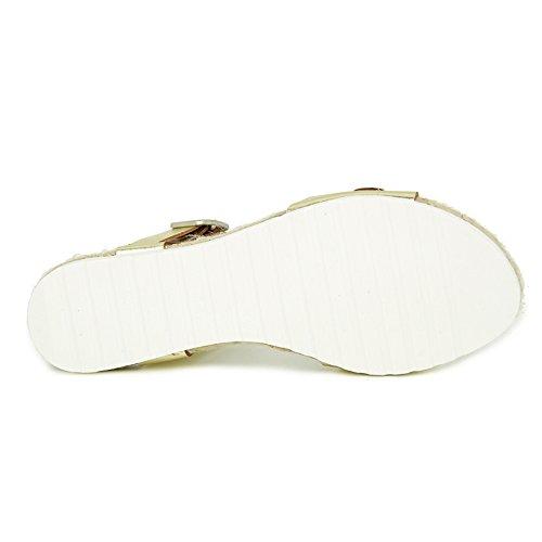 Liberitae - Sandalia plana de piel con hebilla decorativa. Mujer Oro