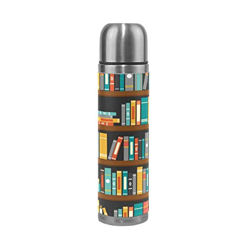 (Thermos 17.5oz Custom Vector Of Library Book Shelf Kids Adults Vacuum Insulated Stainless Steel Water Bottle)