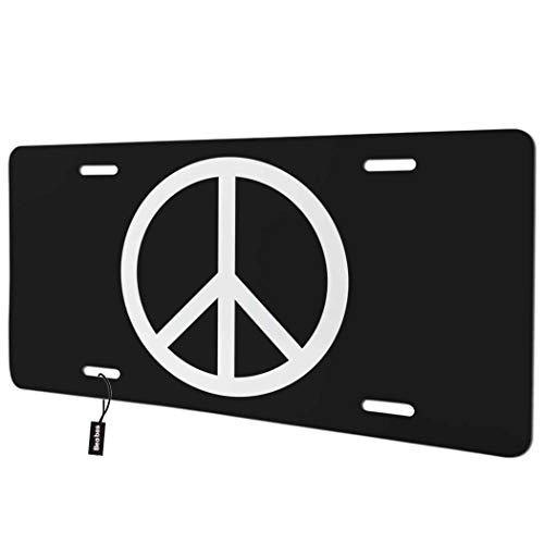 Beabes Peace Front License Plate Cover,Symbol of Peace Black White Decorative License Plates for Car,Aluminum Novelty Auto Car Tag Vanity Plates Gift for Men Women 6x12 Inch