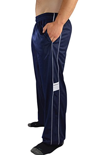 AllPro Men's AP Speed Drill Warm-Up Pants Track Pants Open Bottom (X-Large, Blue/White)