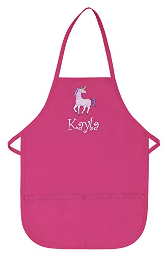 My Little Doc Personalized Hot Pink Kids Apron with Unicorn Embroidery Design Poly/Cotton Twill Fabric Regular