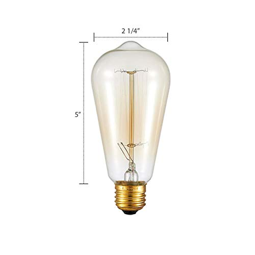 Ohr Lighting Edison Incandescent Light Bulb Vintage 40 Watt Amber Warm Dimmable Antique Squirrel Cage E26 Base 12 Pack by Ohr Lighting (Image #2)