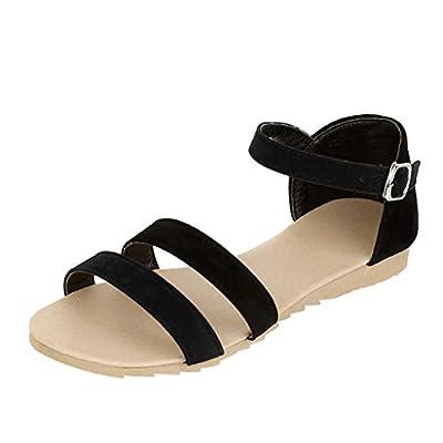 Lurryly Summer Women's Sandals Contrast Sandals Flat Bottom Summer Belt Buckle Sandals
