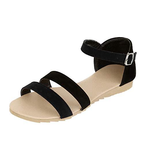 Pandaie Womens ... Sandals Summer Women's Sandals Contrast Sandals Flat Bottom Summer Belt Buckle Sandals ()
