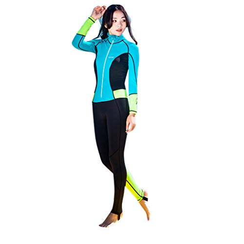 Women Long Sleeve Zipper Front 0.5mm Neoprene Diving Wetsuit Spearfishing Suit Swimwear One Piece (M, Sky Blue)