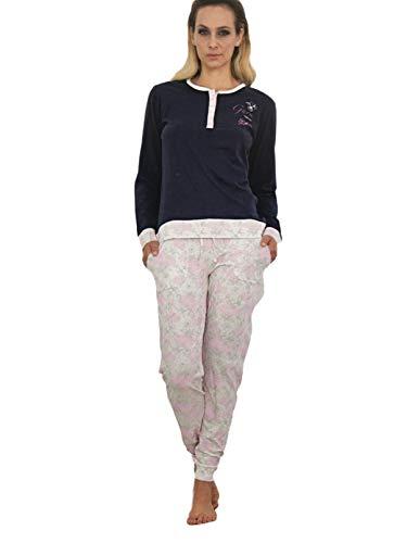 lungo a pigiama Art donna 3760G con e lungo pantalone polsini in guru serafino maglia cotone fiori in Blu CRvWZPwq