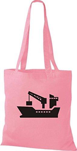 JUTA Borsa di stoffa Nave da carico, NAVIGAZIONE,Oltremare,SKIPPER,CAPITANO - rosa, 38 cm x 42 cm