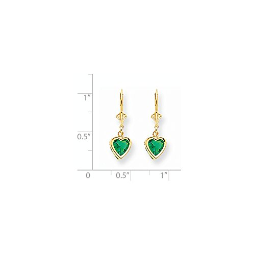 14k 6 Mm Mount (14k Yellow Gold 6mm Heart Mount St. Helens Created Emerald Earrings. Gem Wt- 1.5ct (0.9IN x 0.3IN))
