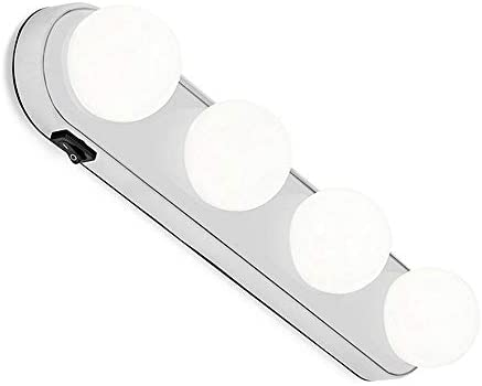 Layopo LED Vanity Mirror Lights Makeup Lights Battery Powered Natural Light 4 Bulb for Bathroom Suction Cup Installation