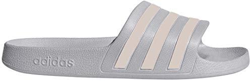 adidas Women's Adilette Aqua Sandal, Grey/Platino Metallic/Grey, 8 M US