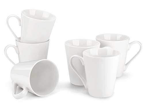 MIWARE 10 Ounce Porcelain Mugs - 6Packs, Tea and Coffee Mug Set, White