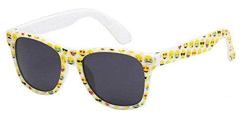 WebDeals - Kids Childrens 80's Classic Retro Sunglasses Assorted Colors (Emoji White, Smoke)