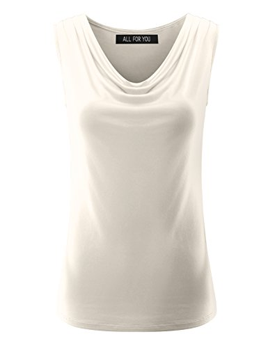 ALL FOR YOU Women's Ruched Sleeveless Blouse Stretch Tank Top Ivory ()