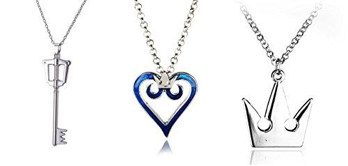 Kingdom Hearts Inspired Jewelry Set Sora Crown Sora Key Blade Blue Heart Crown (Logo Heart)