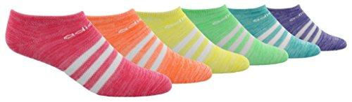 (adidas Kids' - Girls Superlite No Show Socks (6-Pair), real pink space dye/hi/Res orange space dye/shock, 9C-1Y)