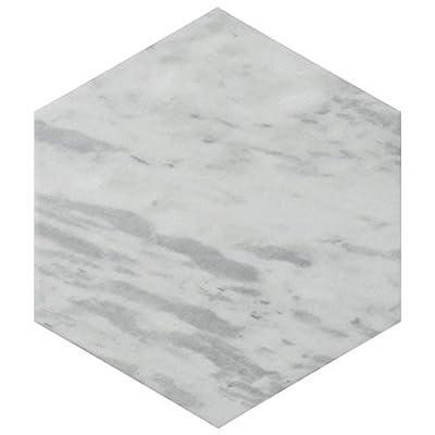 "SomerTile FEQ8BXL Murmur Bardiglio Hexagon Porcelain Floor and Wall Tile, 7"" x 8"", Light"