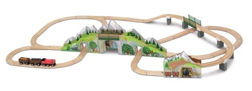 Melissa & Doug Mountain Tunnel Train Set With 2 Tunnels, Sound Effects, Magic Mine Cars (64 pcs)